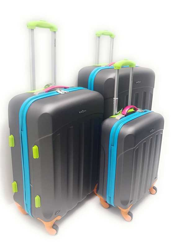Set 3 Trolley Abs Rigido 4 Ruote Multicolor Clacson con Trolley Ryanair