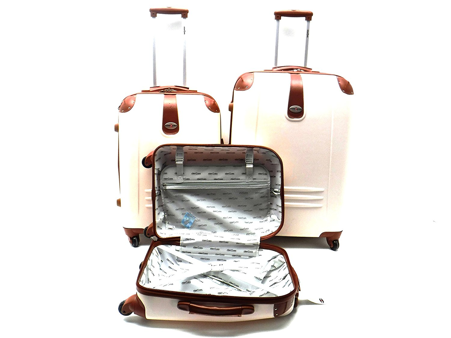 Set 3 Trolley Clacson Abs Rigido 4 Ruote con Riporti in Eco Pelle e Trolley Bagaglio a Mano idoneo Low Cost