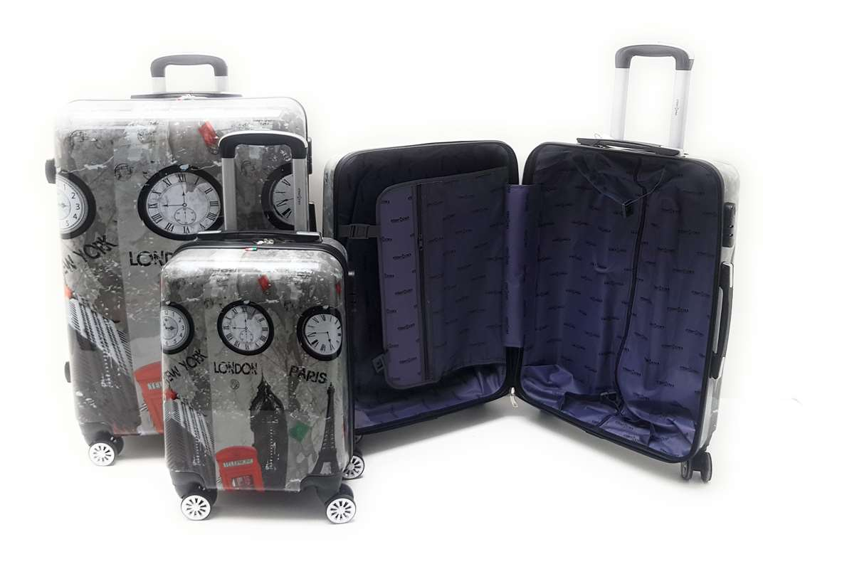 Set 3 trolley in ABS lucido 8 ruote Roma,Londra,Parigi,New York con Trolley Ryanair cm.55x40x20 - Foto4