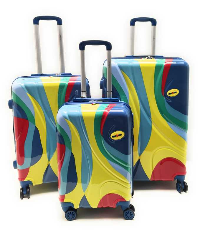 Set 3 Trolley ABS Lucido Rigido 8 Ruote FANTASIA MULTICOLOR con Trolley Ryanair cm.55x40x20