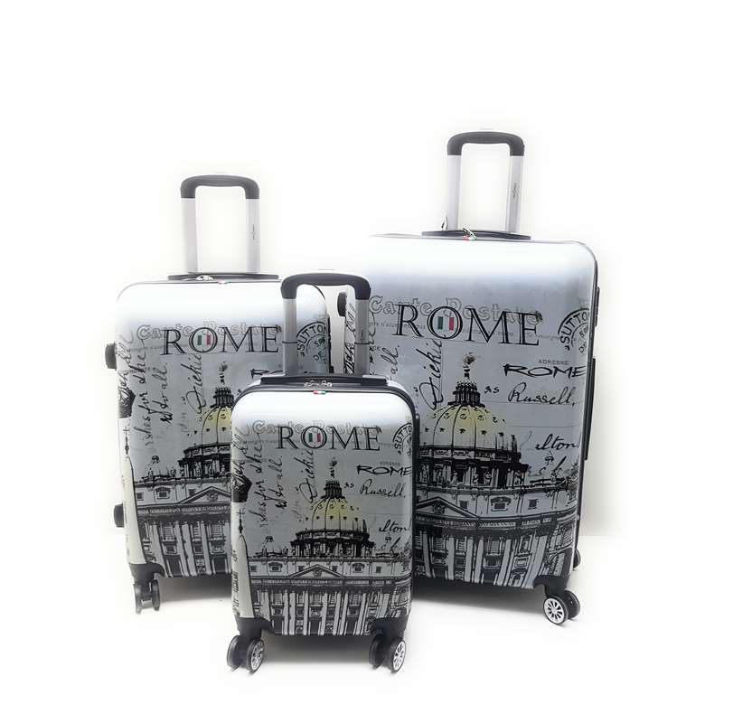 Set 3 trolley in ABS lucido 8 ruote Roma,Londra,Parigi,New York con Trolley Ryanair cm.55x40x20