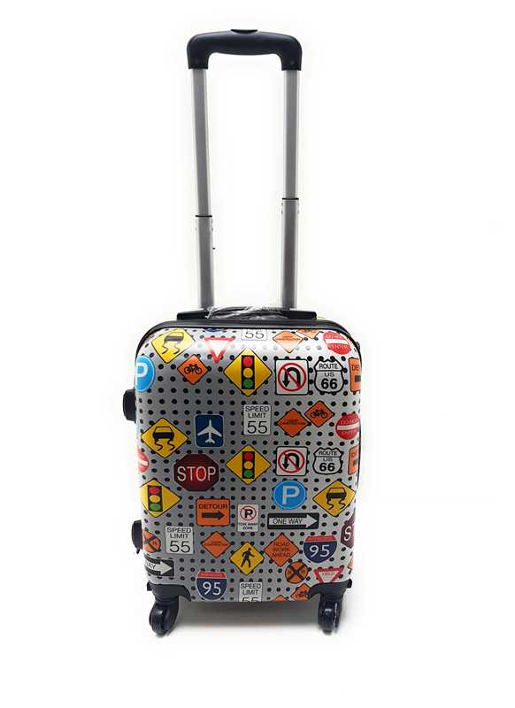 Trolley ABS Rigido Lucido  4 Ruote Idoneo Easyjet cm.50x40x20,Misure effettive cm.50x36x20 Stampe Disegno Idoneo Ryanair