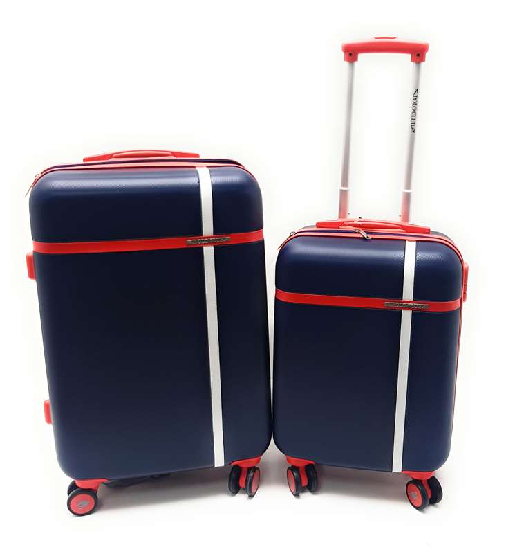 Coppia Trolley ABS rigido 8 ruote POLO CLUB -Trolley Medio e Trolley Bagaglio a Mano ryanair cm.55x40x20